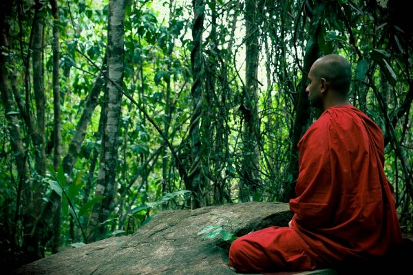 Meditate with monks in a mountain in Ella